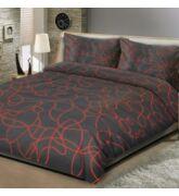 Fekete és vörös pamutszatén ágyneműhuzat